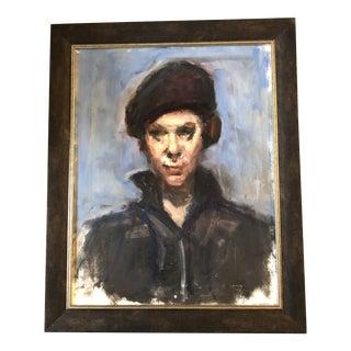 Original Contemporary Robert Henri Style Portrait Painting Framed For Sale