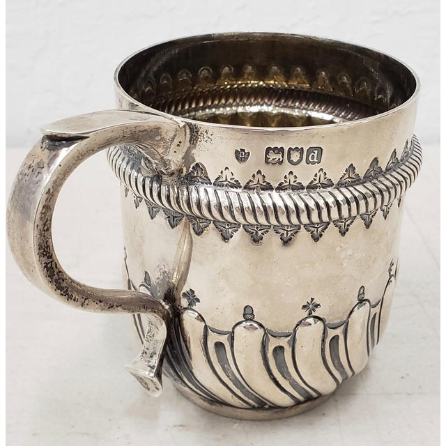 Silver Late 19th Century Hand Tooled Sterling Silver Christening Cup C.1897 For Sale - Image 8 of 12