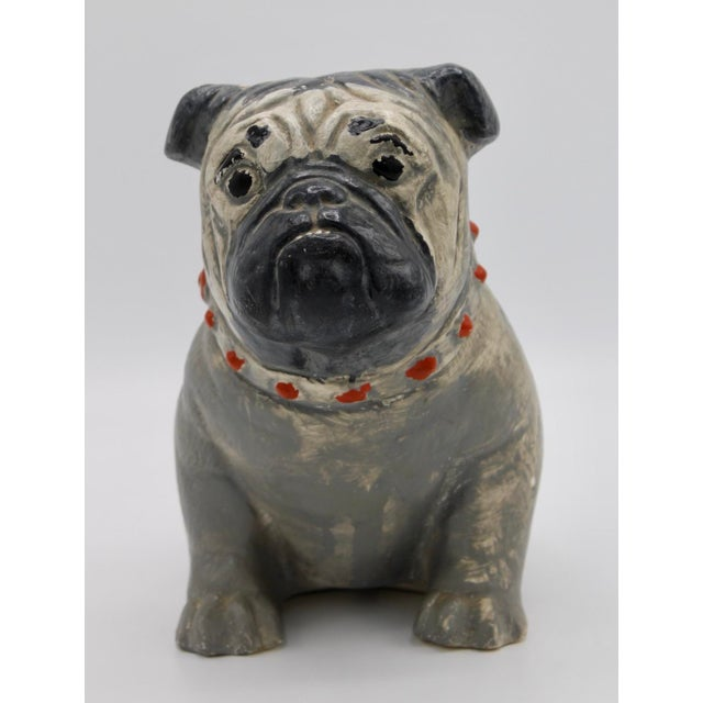 Gray 1930s Chalkware Carnival Prize Bulldog Statue For Sale - Image 8 of 12