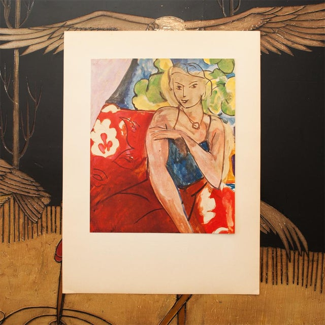 """French Henri Matisse Original """"Girl on a Red Background"""" Swiss Period Lithograph, C. 1940s For Sale - Image 3 of 8"""