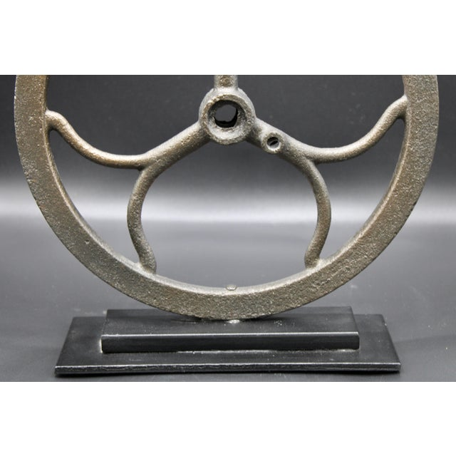 Metal Vintage Iron Pulley on Custom Mount For Sale - Image 7 of 10