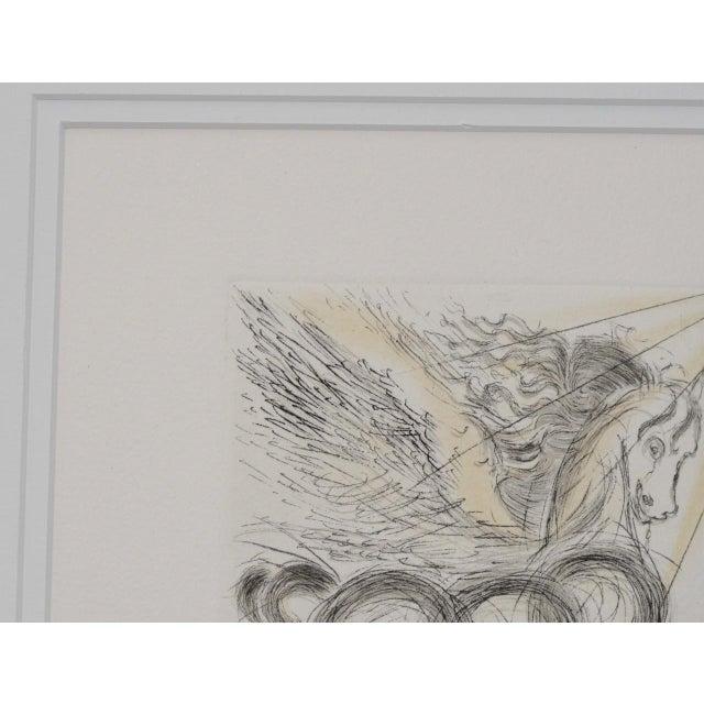 "Salvador Dalí Salvador Dali ""Pegasus"" Reverse Plate Signed Etching C.1970s For Sale - Image 4 of 8"