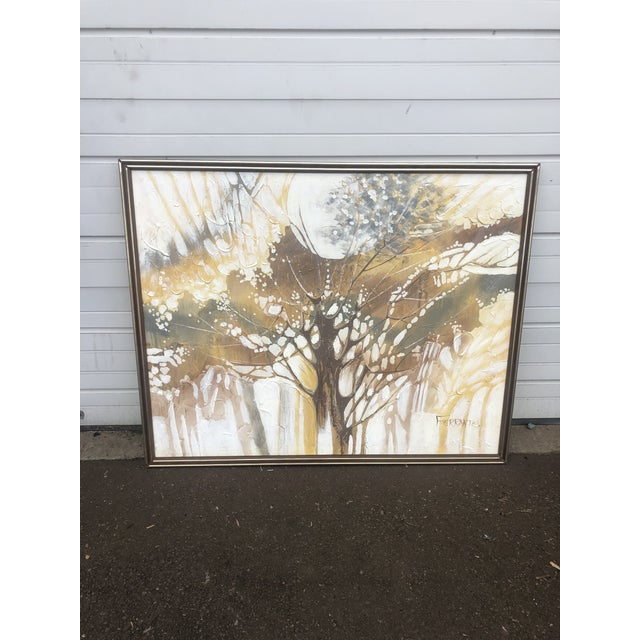 Vintage Ferrante Oil Painting Abstract Textural of Tree, Large For Sale - Image 10 of 10