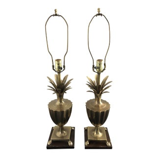 1990s Hollywood Regency Frederick Cooper Brass Urn Pineapple Lamps - a Pair