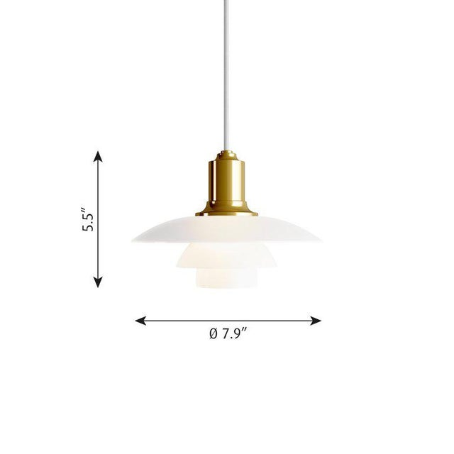Mid-Century Modern Poul Henningsen Ph 2/1 Brass & Glass Pendant for Louis Poulsen For Sale - Image 3 of 8