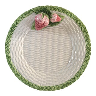Trompe l'Oeil Strawberry Basketweave Serving Plate by the Mane Lion-Made in Italy For Sale