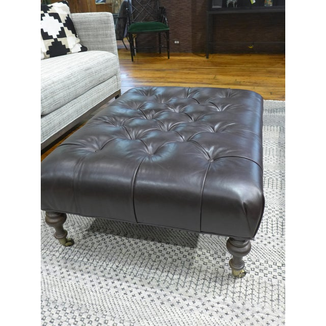 Brown Modern Dark Leather Tufted Ottoman/Coffee Table For Sale - Image 8 of 9