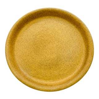 Gainey Ceramics Speckled Mustard Yellow Planter Draining Platter For Sale