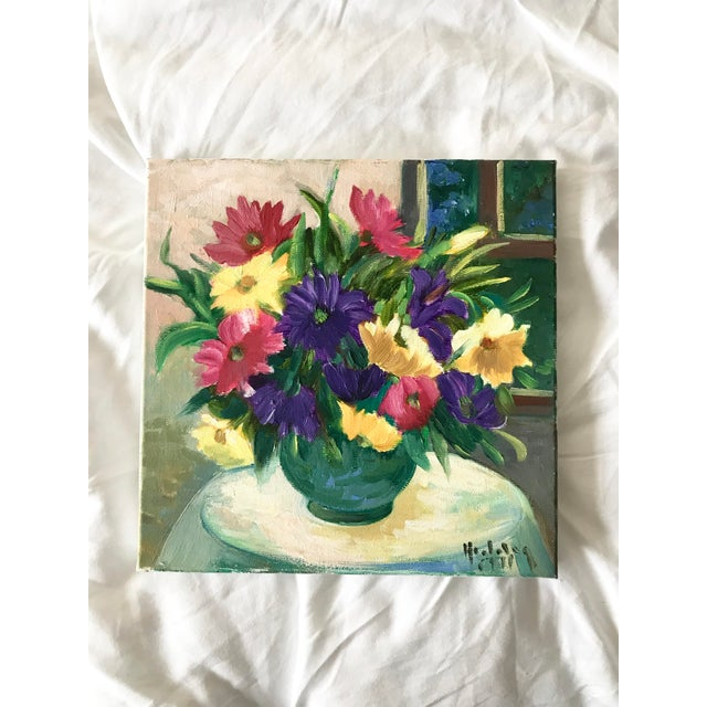 Vintage Floral Still Life Bright Original Oil Painting For Sale In Palm Springs - Image 6 of 6