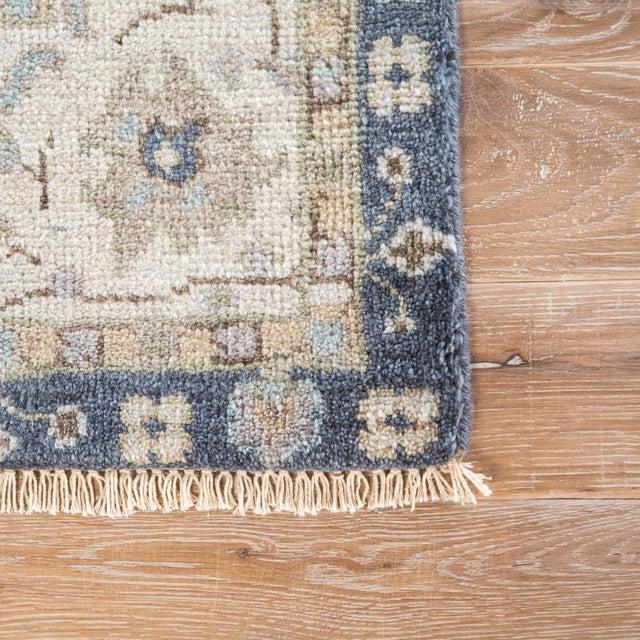 Boho Chic Jaipur Living Princeton Hand-Knotted Floral Dark Blue & Beige Area Rug - 2′ × 3′ For Sale - Image 3 of 6