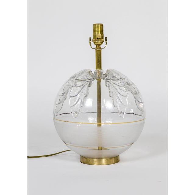 Transparent Late 20th Century Spherical Pressed Glass Oak Leaf & Brass Lamp For Sale - Image 8 of 8