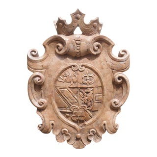 Carved Verona Rosa Marble Coat of Arms Plaque From Italy For Sale