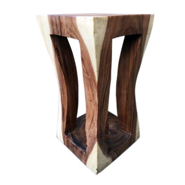 Asian Natural Wood Four Leg Curve Stool For Sale - Image 3 of 3