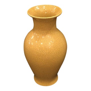 Yellow Glazed 'Fishtail' Vase With Crackle Finish For Sale
