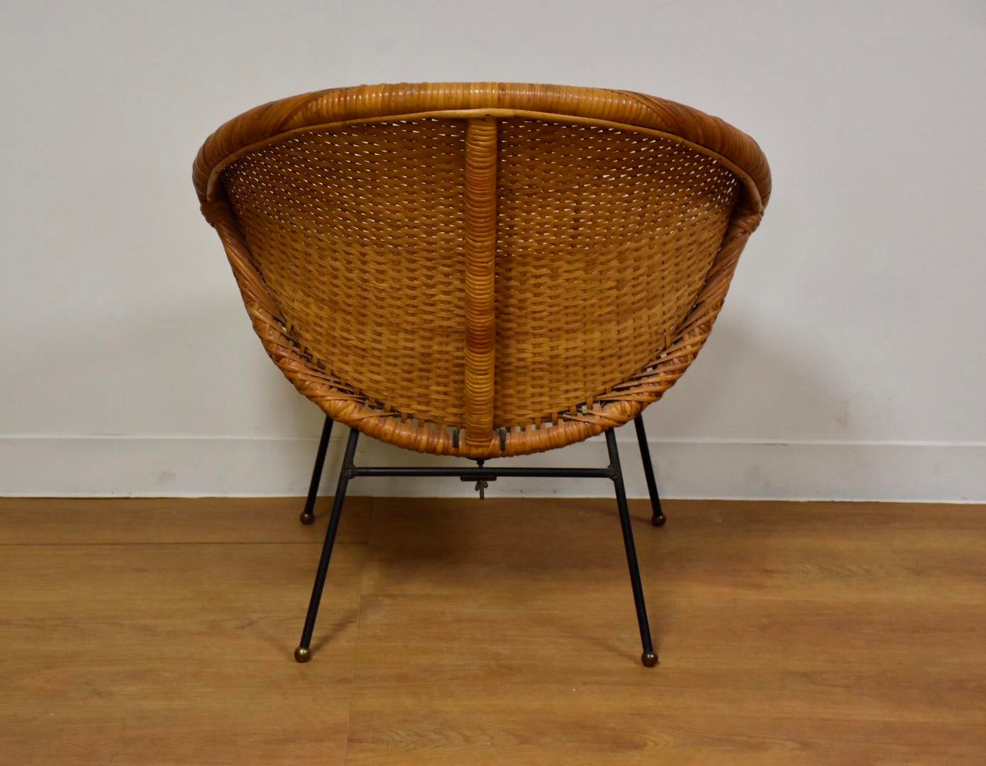 Iron U0026 Wicker Saucer Lounge Chair For Sale   Image 4 Of 11