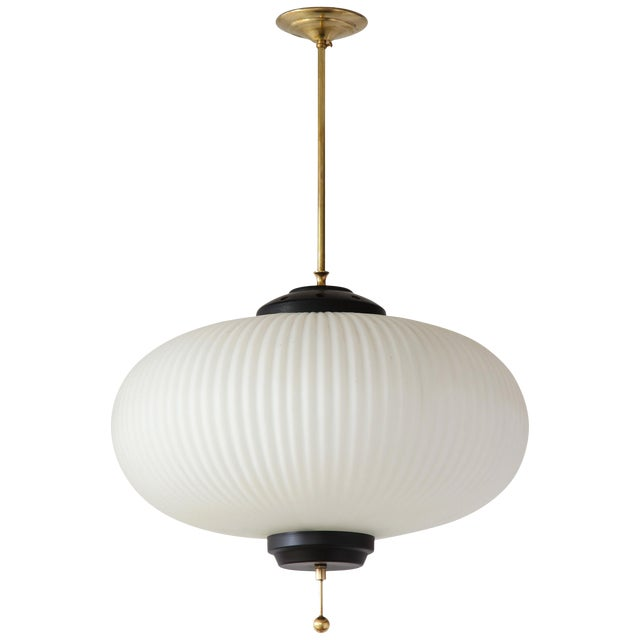 Stilnovo Ribbed Milk Glass Globe Lantern For Sale