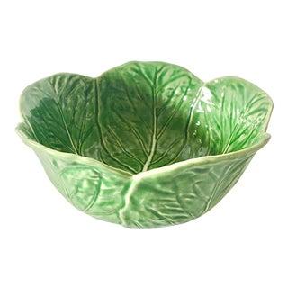 Vintage Large Portuguese Majolica Cabbage Serving Bowl For Sale