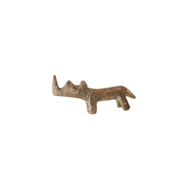 Mid 20th Century Vintage African Mini Tinted Bronze Rhino For Sale - Image 5 of 5