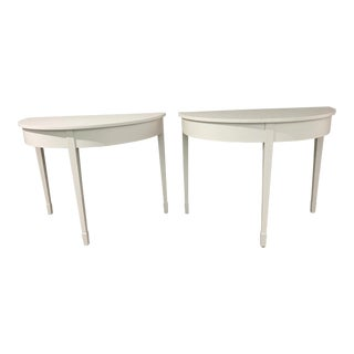 20th Century Gustavian Demi-Lune Tables - a Pair For Sale