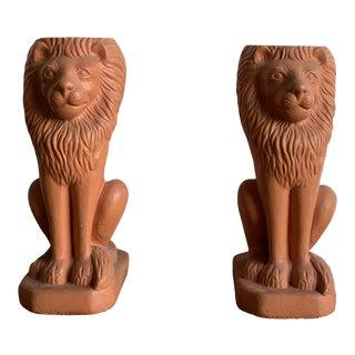 Concrete Lion Pedestal- Single For Sale