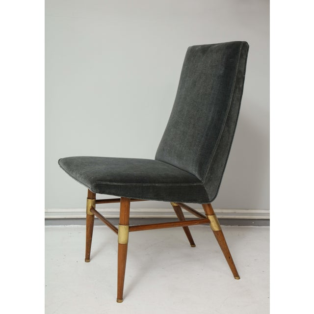 Set of Six Italian Mid-Century Modern Dining Chairs, Recently Upholstered For Sale - Image 4 of 11