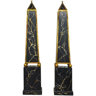 Pair of Monumental Painted and Brass Mounted Neoclassical Obelisks With Cabinets For Sale