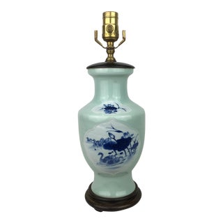 Vintage Chinese Celadon Blue/White Vase Lamp For Sale