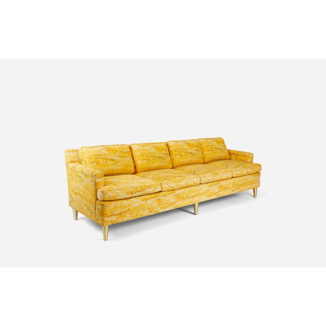 Jack Lenor Larsen 4 Seat Sofa on Brass Legs For Sale In Chicago - Image 6 of 7