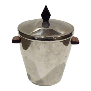 Vintage Irwinware Aluminum Ice Bucket With Wood Accents For Sale
