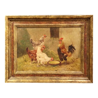 Early 20th Century French Chicken Painting in Carved Frame Signed and Numbered For Sale