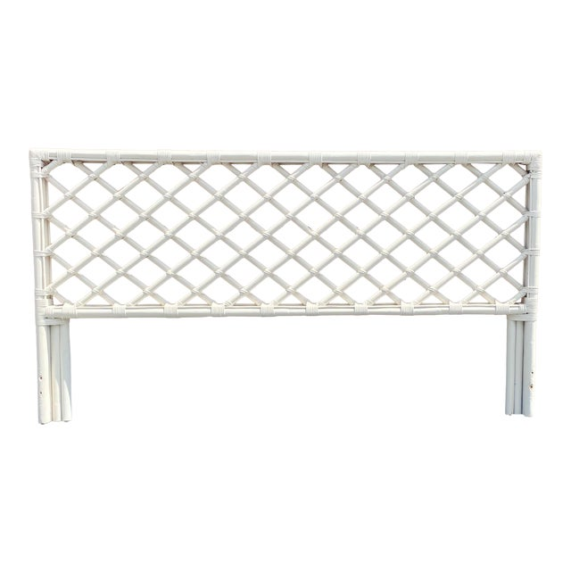Vintage King Size Bamboo Lattice Headboard For Sale