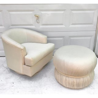 Modern Swivel Club Chair With Matching Pouf Ottoman Preview