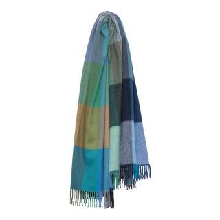 Jura Palette Lambswool Angora Throw, Blue Multi For Sale