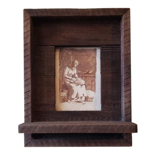 Arts & Crafts Pine Frame W/ Shelf and Art Etching After Millet C.1970 For Sale