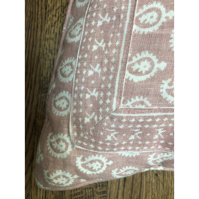 Peter Dunham Pink Rajmata Print Down Designer Pillow For Sale - Image 4 of 9