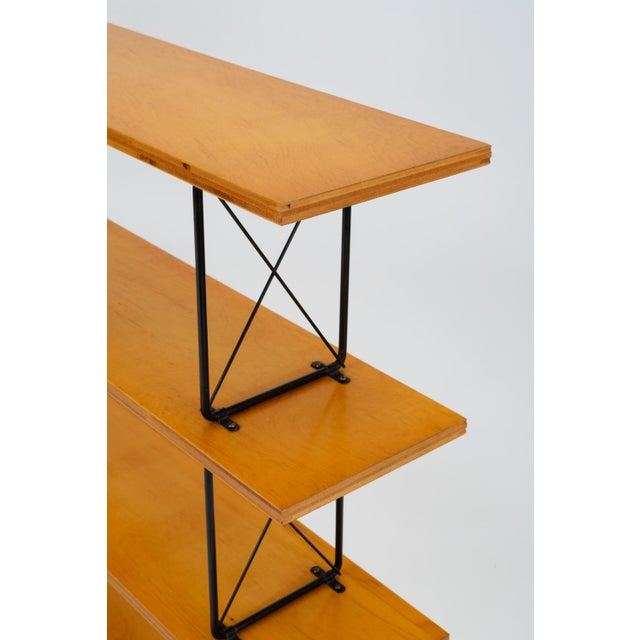Modernist Mahogany Bookshelf With Black Wire Frame For Sale - Image 10 of 13