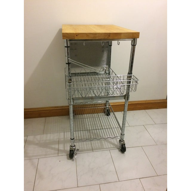 Kitchen Cart With Wood Butcher Block Top For Sale In Boston - Image 6 of 13