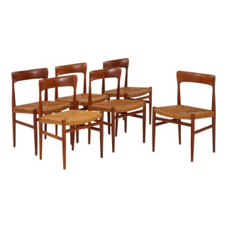 1950s Danish Teak Modernist Dining Chairs with Paper Cord Seats - Set of 6 For Sale