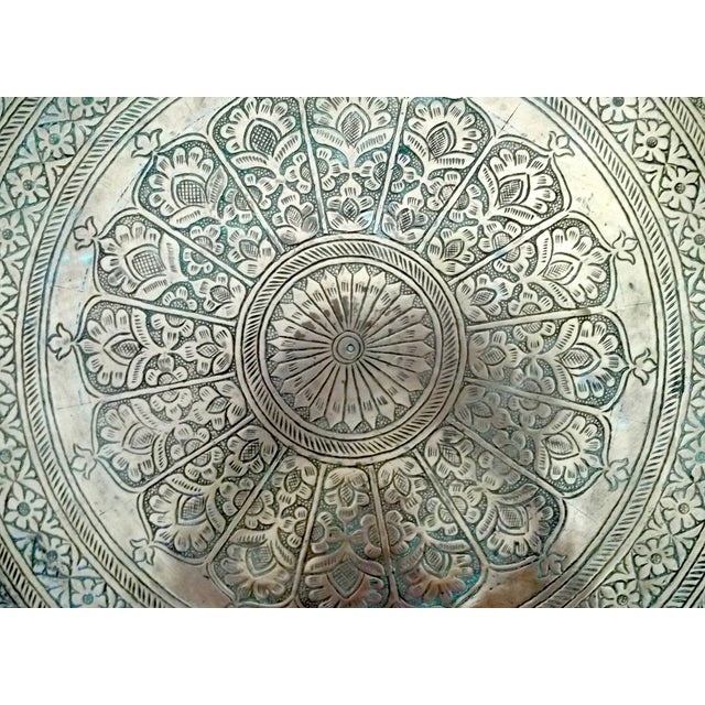 """Antique Hand Chased Persian Copper Tray 26.5"""" - Image 4 of 6"""