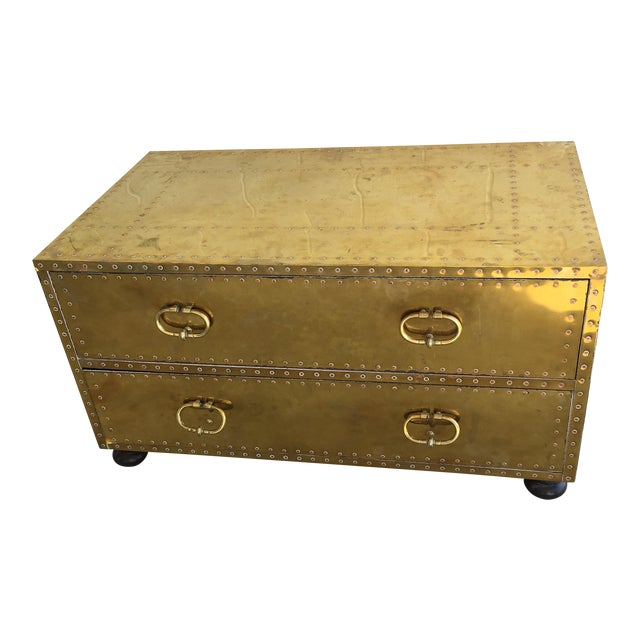 Sarreid LTD Brass Two-Drawer Coffee Table For Sale
