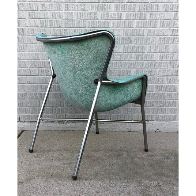 Mid Century Modern Fiberglass Aqua Green Chair With Chrome Legs For Sale - Image 9 of 13