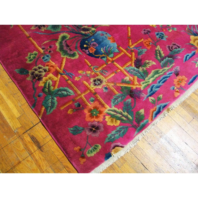 1920s 1920s Chinese Art Hot Pink Deco Rug - 8′8″ × 11′ For Sale - Image 5 of 6