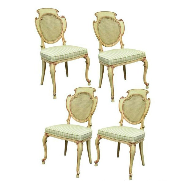 1950s Vintage Scroll Carved Italian Hollywood Regency Cream Pink Cane Back Dining Chairs- 4 Pieces For Sale - Image 11 of 11