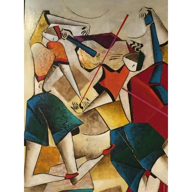 "Cubism Original David Schluss Painting ""Fantasia of Music"" For Sale - Image 3 of 8"