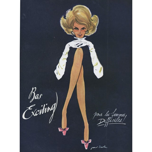 FUN-Matted Mid-Century French Advertisement Print for Fashion Hosiery For Sale