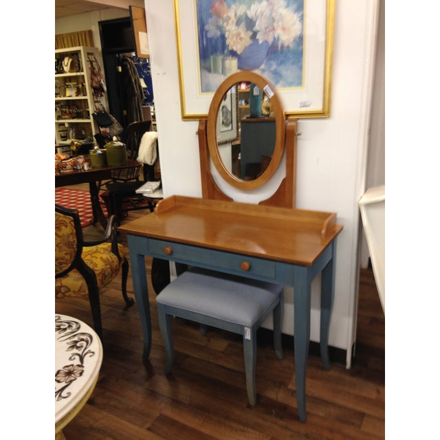 Ethan Allen Country Blue Vanity With Bench - Image 6 of 8
