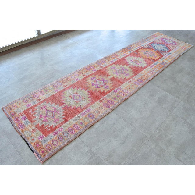Hand-Made Turkish Runner Rug. Muted Colors Tribal Herki Rug Runner Hallway Decor - 2′9″ × 11′4″ For Sale - Image 4 of 10