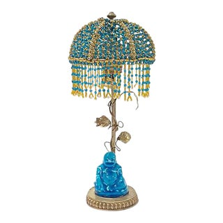 Antique Beaded Canopy Chinoiserie Lamp