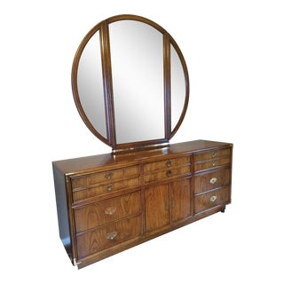 1960s Lexington Mid Century Campaign 9 Drawer Dresser With Mirror For Sale