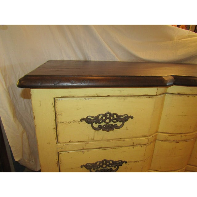 Century Furniture Yellow Paint Rustic Chest of Drawers - Image 3 of 6